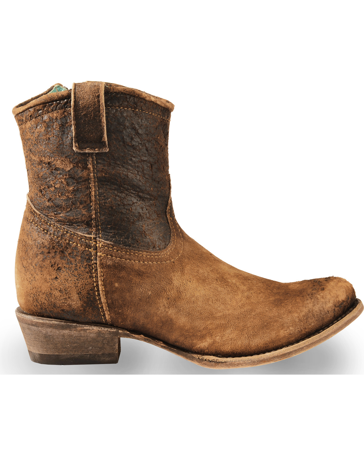 Perfect This Western Style Boot Has A Stylish Leather Upper And Durable Rounded Toe The Beautiful Stitching Detail On The Toe Sets This Short Boot Apart From The Rest An Inside Zipper Makes The Boot Easy To