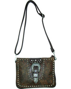 Savana Women's Buckle Tooled Crossbody Bag, Brown, hi-res