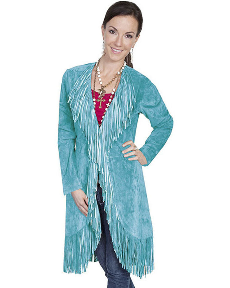 Scully Women's Suede Fringe Maxi Coat, Turquoise, hi-res
