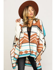 Wrangler Women's Rust Serape Blanket Cape , Rust Copper, hi-res