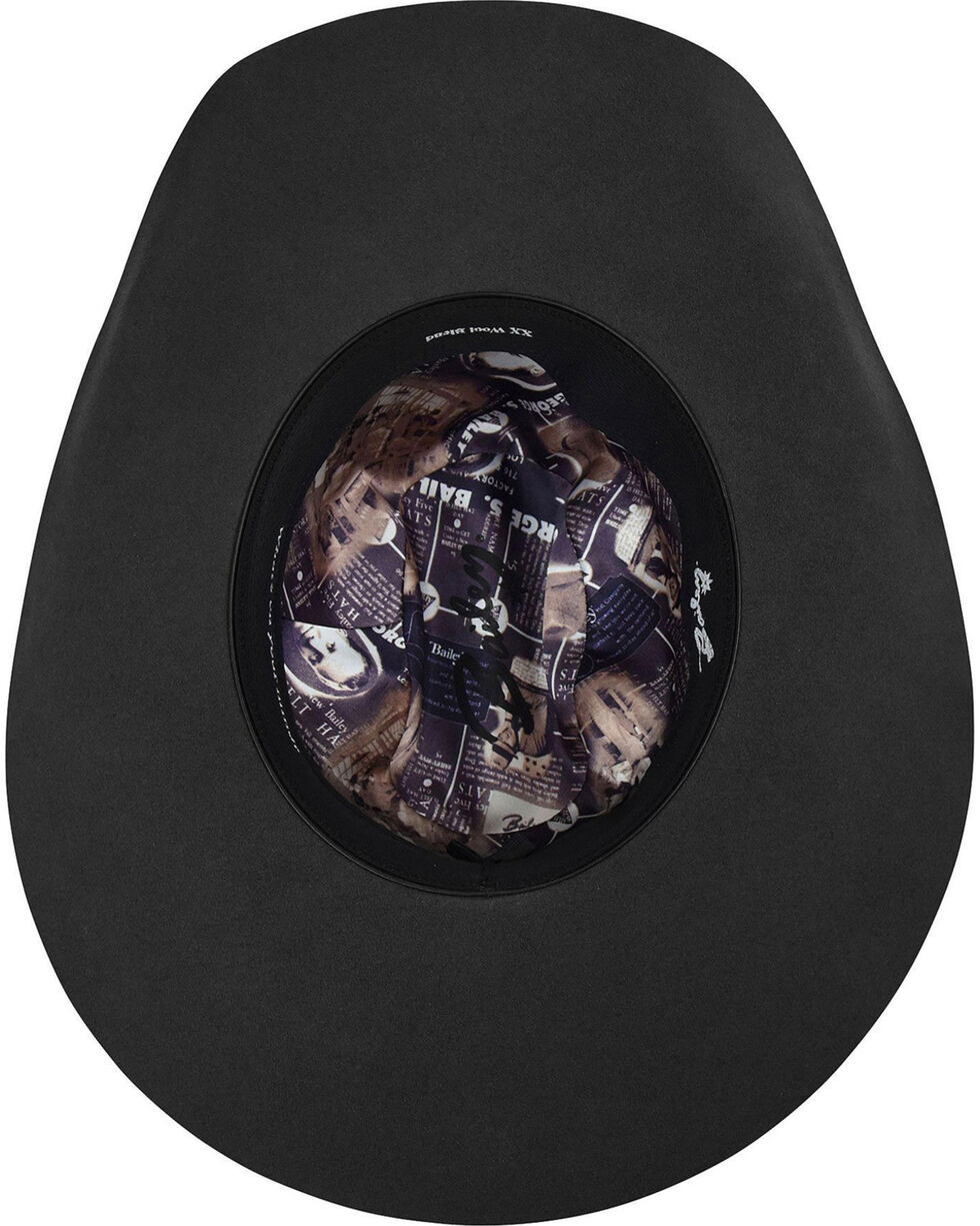 Bailey Men's Black Zippo 2X Wool Felt Cowboy Hat, Black, hi-res