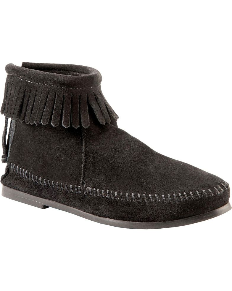 Women's Minnetonka Suede Back Zipper Moccasin Boots, Black, hi-res