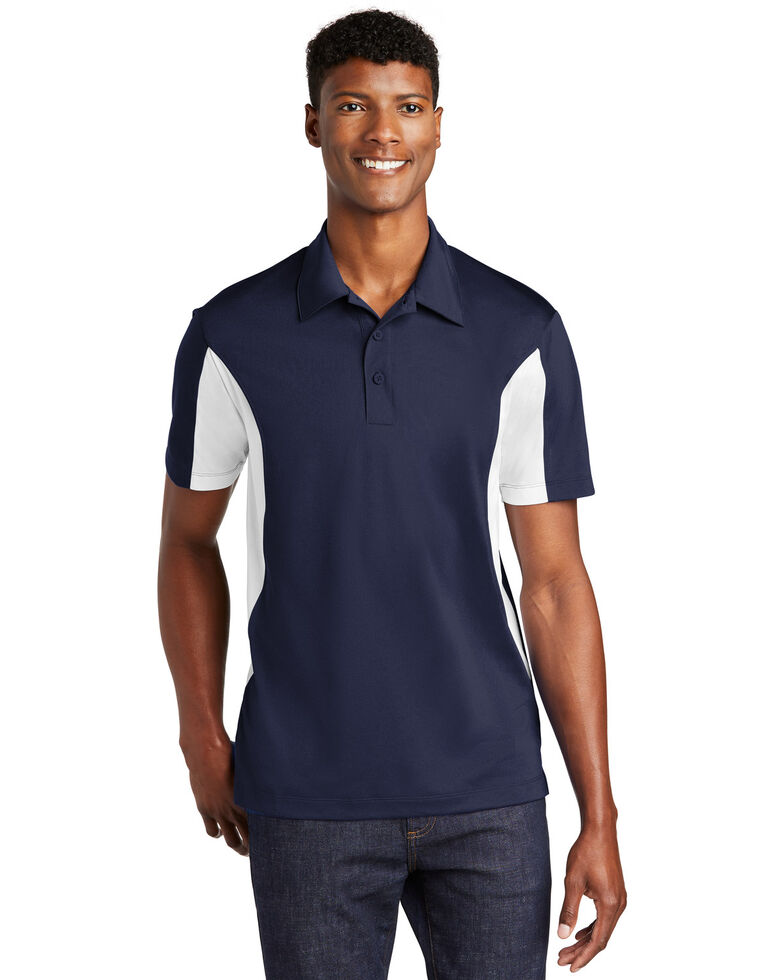 Sport Tek Men's True Navy & White 2X Side Color Blocked Sport Wick Short Sleeve Polo Work Shirt - Big, Multi, hi-res