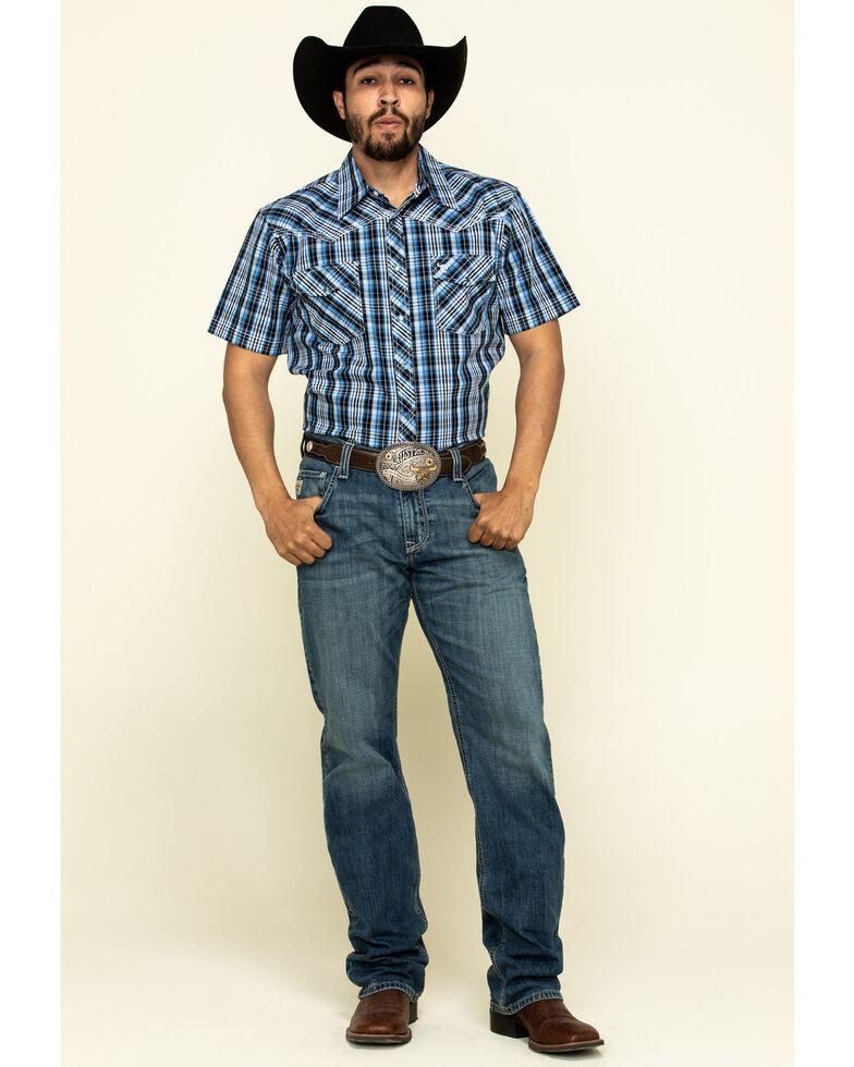 Cowboy Hardware Men's Blue Heeler Plaid Short Sleeve Western Shirt , Blue, hi-res