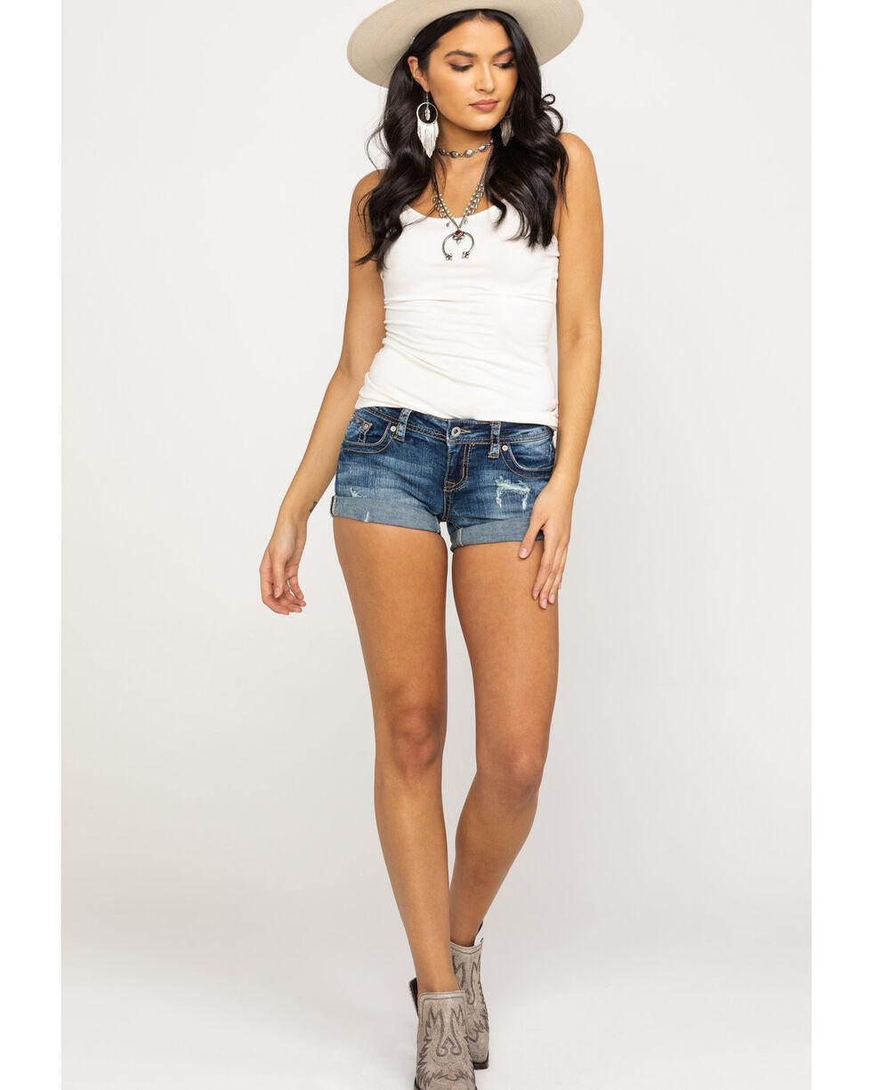 Grace in LA Women's Dark Clean Rolled Hem Shorts, Blue, hi-res