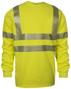 National Safety Apparel Men's FR Vizable Hi-Vis Long Sleeve Work T-Shirt - Tall , Bright Yellow, hi-res