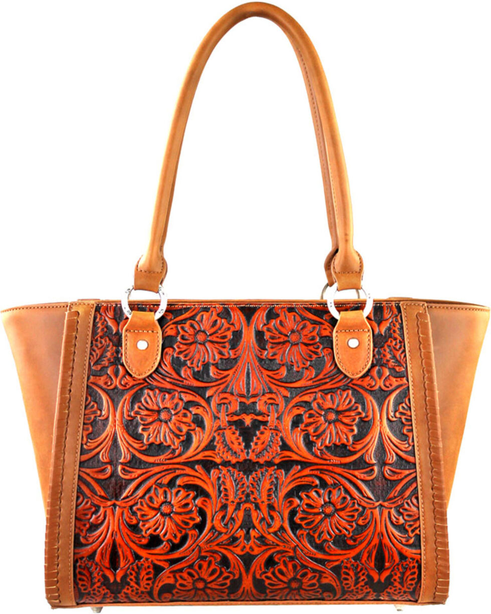 Montana West Brown Delila Brown Tooled Leather Satchel, Brown, hi-res