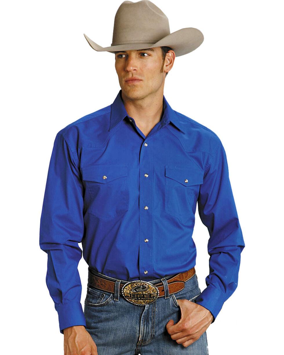 Roper Men's Amarillo Collection Western Shirt, Blue, hi-res