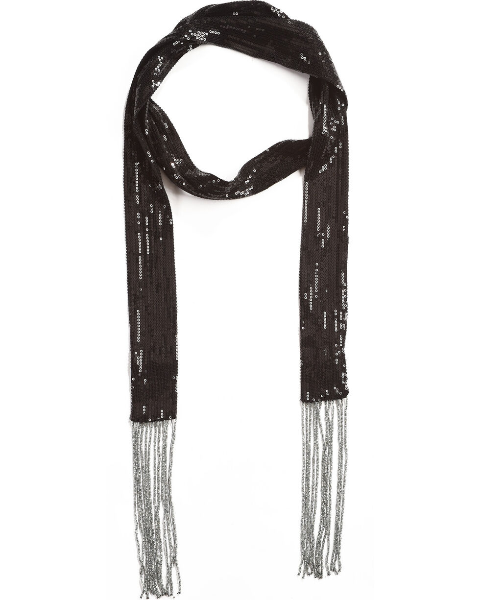 Shyanne Women's Black Sequins Skinny Scarf, Black, hi-res