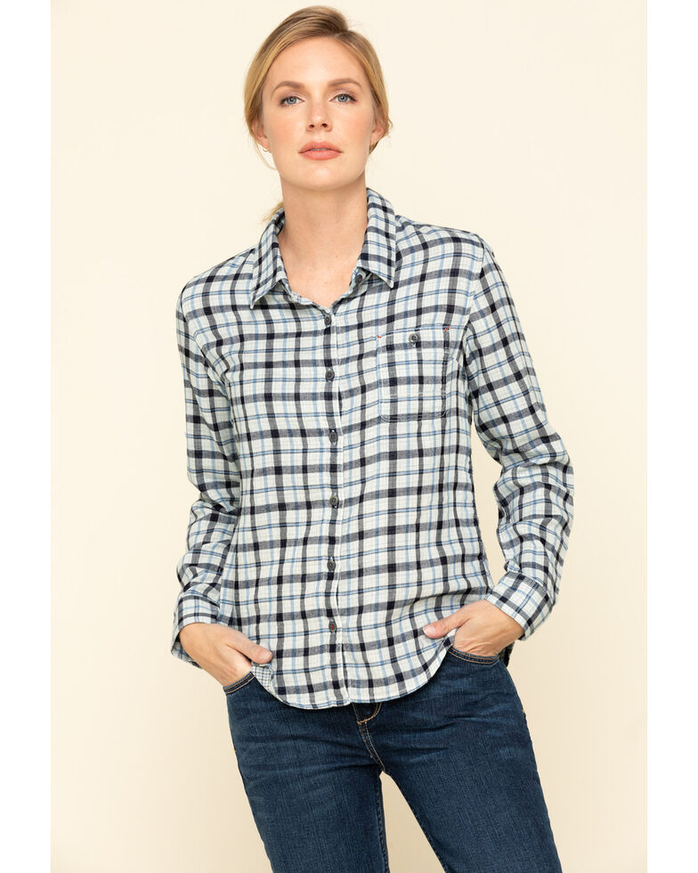 Dovetail Workwear Women's Plaid Givens Work Shirt , Indigo, hi-res
