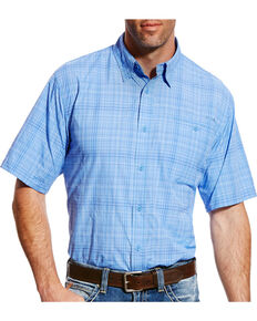 Ariat Men's Blue Plaid VentTEK II Short Sleeve Western Shirt , Light Purple, hi-res