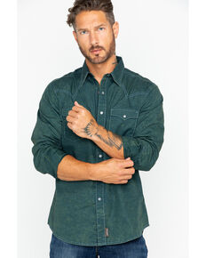 Wrangler Retro Men's Premium Acid Wash Geo Print Long Sleeve Western Shirt, Teal, hi-res
