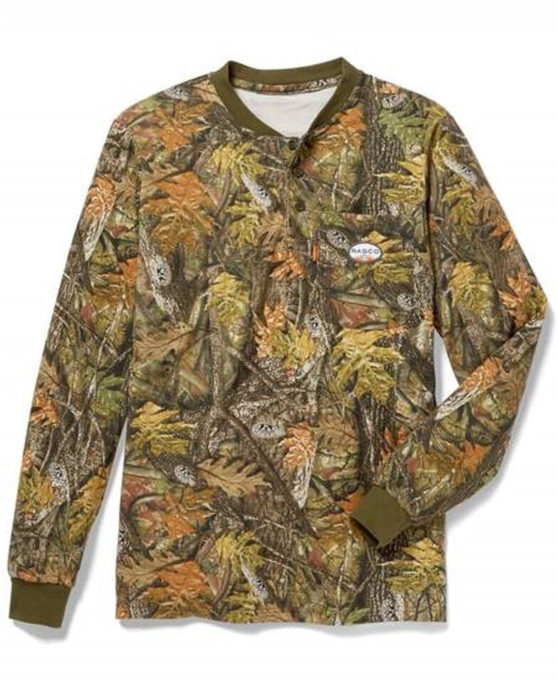 Rasco Men's FR Camo Print Long Sleeve Work Henley T-Shirt , Camouflage, hi-res