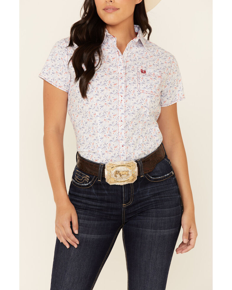 Rough Stock By Panhandle Women's American Print Short Sleeve Western Core Shirt, White, hi-res