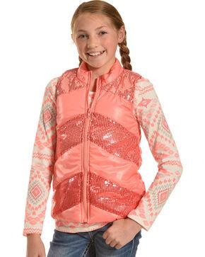 Shyanne Girls' Aztec T-Shirt and Sequin Vest Set, Coral, hi-res