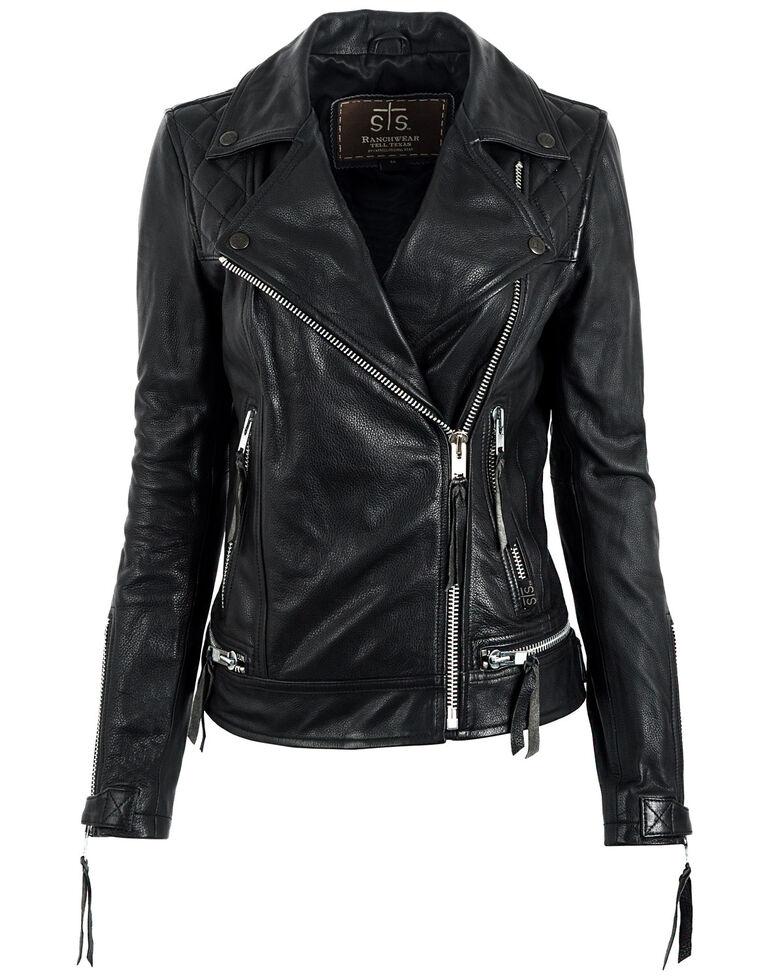 STS Ranchwear Women's Black Dreamer Moto Leather Jacket, Black, hi-res
