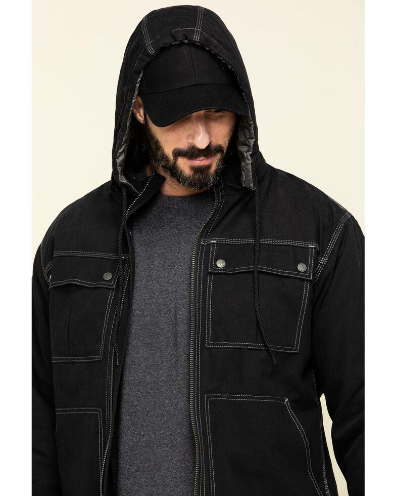 Berne Men's Modern Zip-Off Hooded Work Chore Coat , Black, hi-res