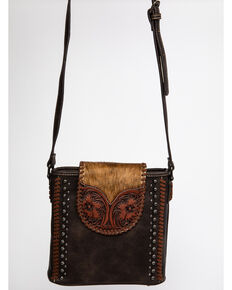 Montana West Trinity Ranch Women's Coffee Tooled Hair-On Crossbody Bag, Coffee, hi-res