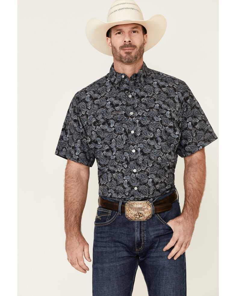 Panhandle Men's Performance Stretch Paisley Print Short Sleeve Western Shirt , Blue, hi-res