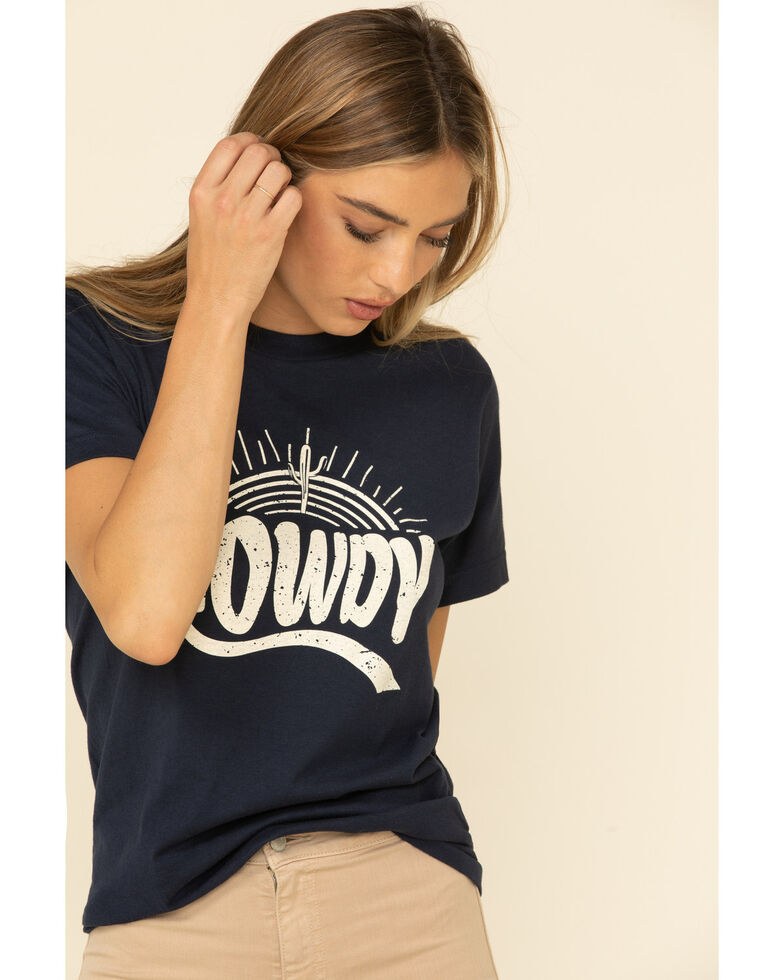 Ali Dee Women's Howdy Sunset Graphic Tee , Navy, hi-res