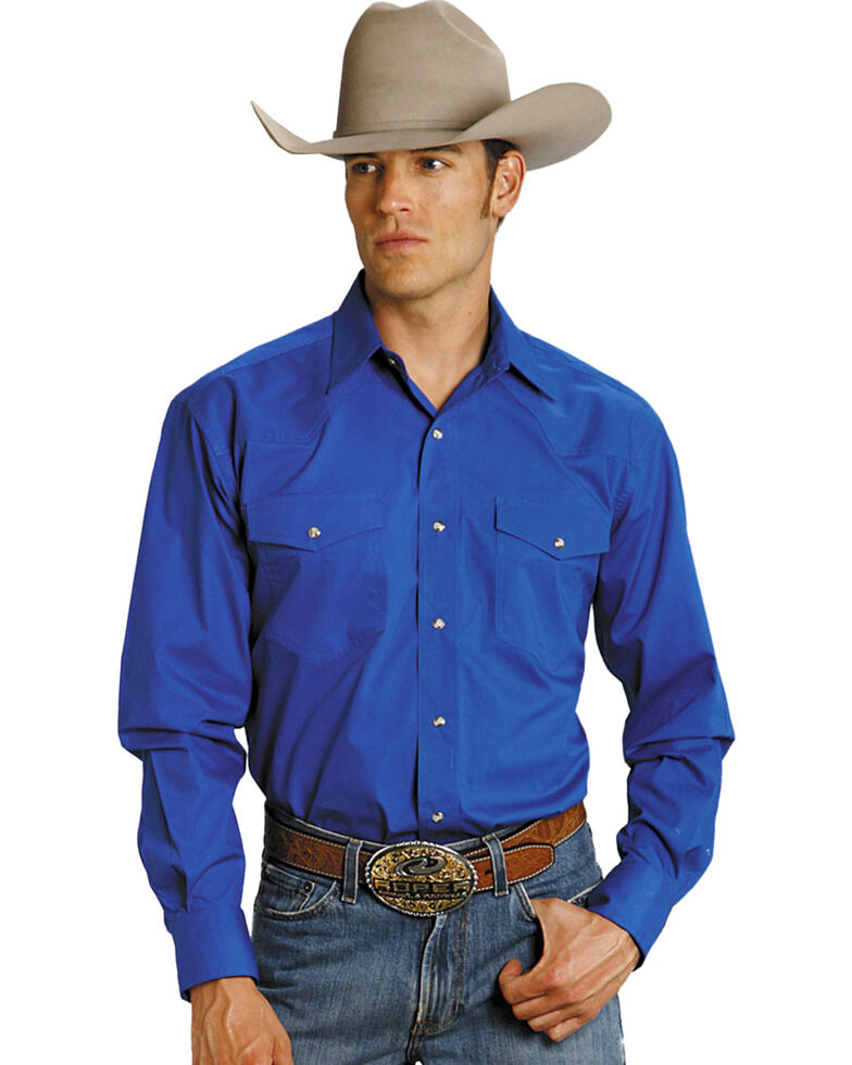 Roper Men's Amarillo Collection Solid Long Sleeve Western Shirt, Blue, hi-res
