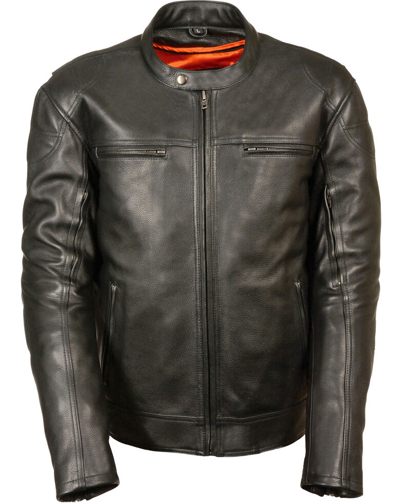 Milwaukee Leather Men's Black Longer Body Vented Jacket - Big 3X, Black, hi-res