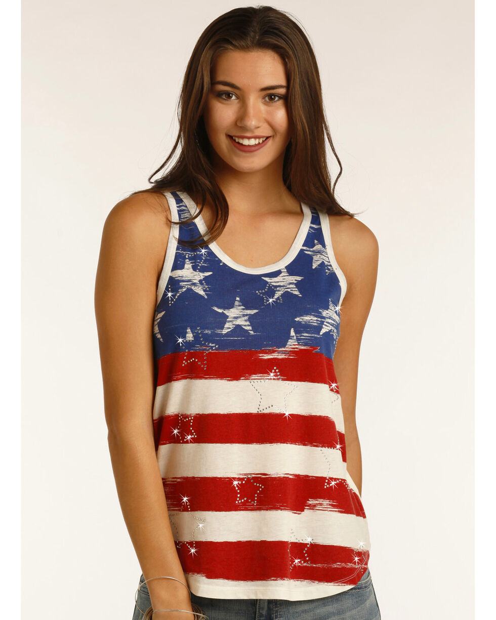 Rock & Roll Cowgirl Women's Stars and Stripes Tank Top, White, hi-res
