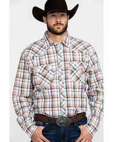 Wrangler 20X Men's Advanced Comfort Orange Plaid Long Sleeve Western Shirt , Orange, hi-res