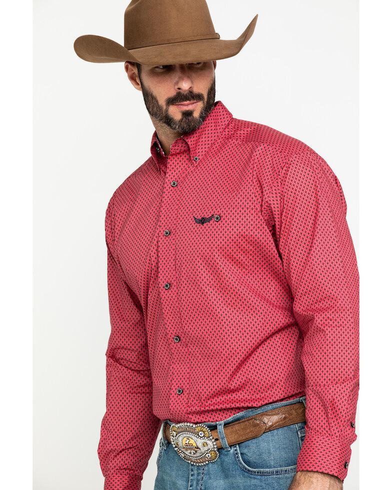 Ariat Men's Relentless Worthy Stretch Geo Print Long Sleeve Western Shirt , Red, hi-res