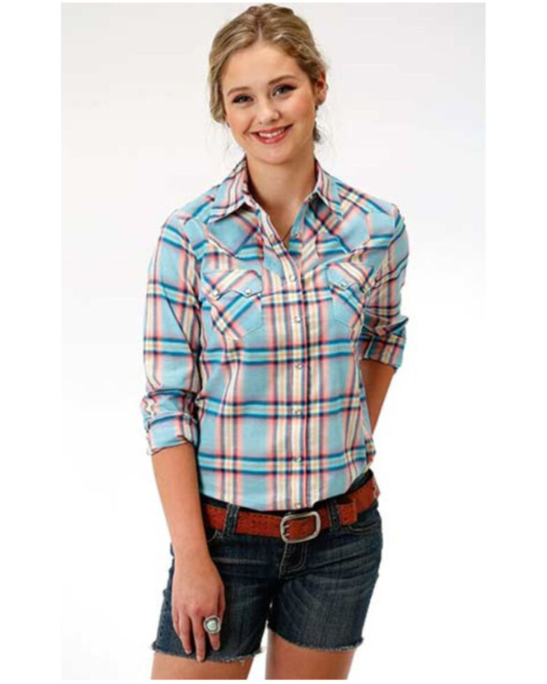Roper Women's Coral Glow Plaid Long Sleeve Western Shirt  , Coral, hi-res