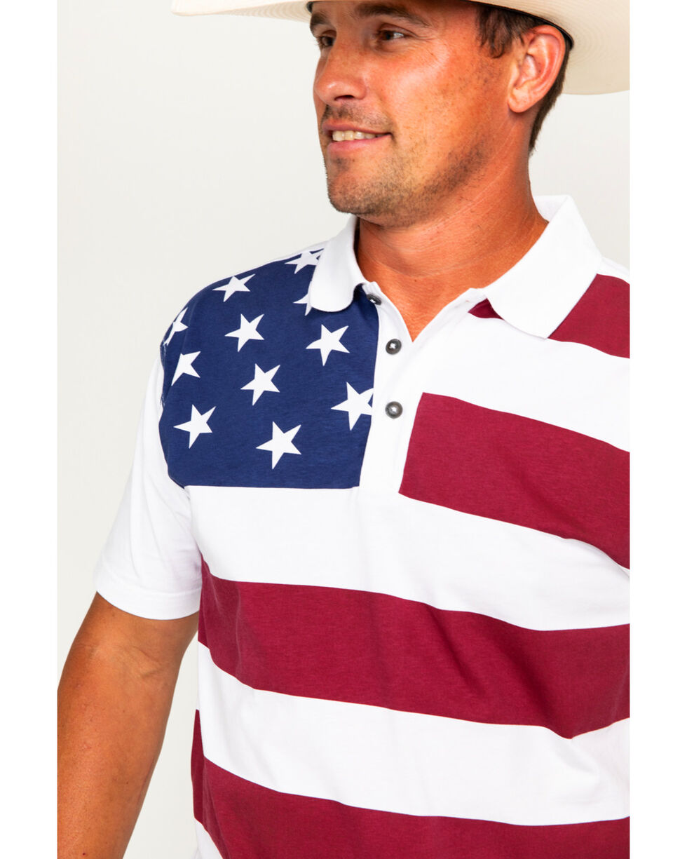 Cody James Men's Flag Short Sleeve Polo, Red/white/blue, hi-res