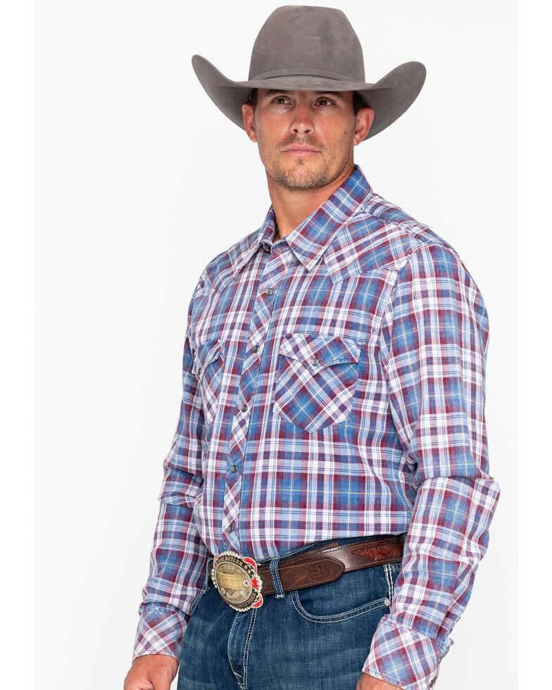 Rock & Roll Cowboy Men's Double Dye Plaid Long Sleeve Western Shirt , Grey, hi-res