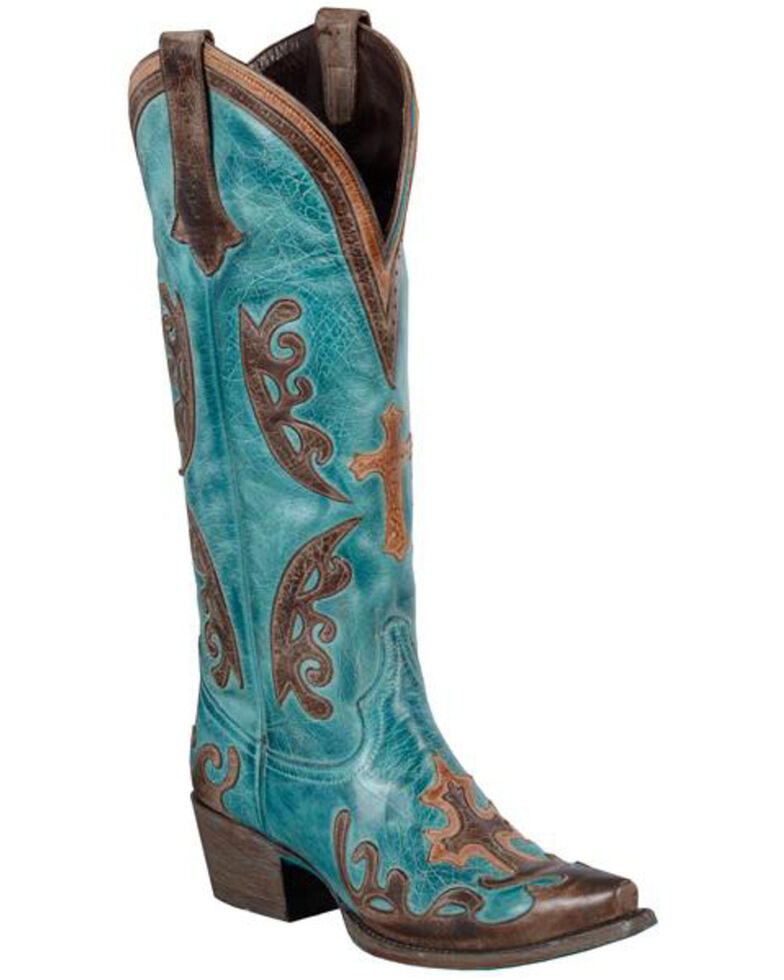 Lane Grace Cowgirl Boots - Snip Toe, Blue, hi-res