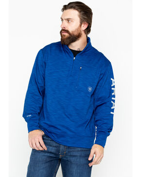 Ariat Men's Team Logo 1/4 Zip Fleece Pullover, Royal Blue, hi-res