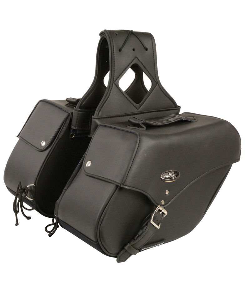 Milwaukee Leather Medium Zip-Off Single Strap Throw Over Saddle Bag, Black, hi-res