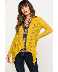 Rock & Roll Cowgirl Women's Chevron Hanky Cardigan, Dark Yellow, hi-res