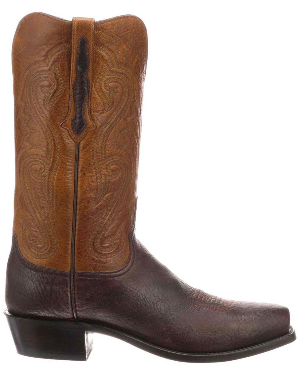Lucchese Men's Estes Exotic Elk Western Boots - Square Toe, Chocolate, hi-res