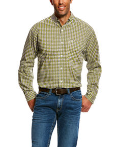 Ariat Men's Nesto Stretch Geo Print Long Sleeve Western Shirt , Green, hi-res