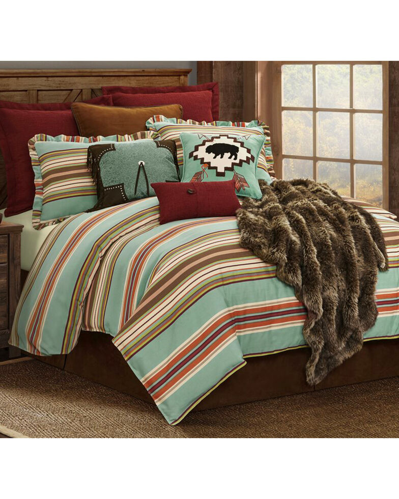 HiEnd Accents Turquoise Serape 2-Piece Comfort Set - Twin , Turquoise, hi-res
