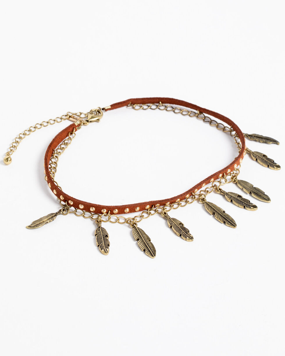 Shyanne Women's Feather Choker Necklace, Bronze, hi-res