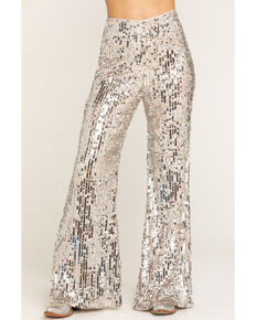 Show Me Your Mumu Women's Platinum Party Sequin Gretta Pants, Silver, hi-res