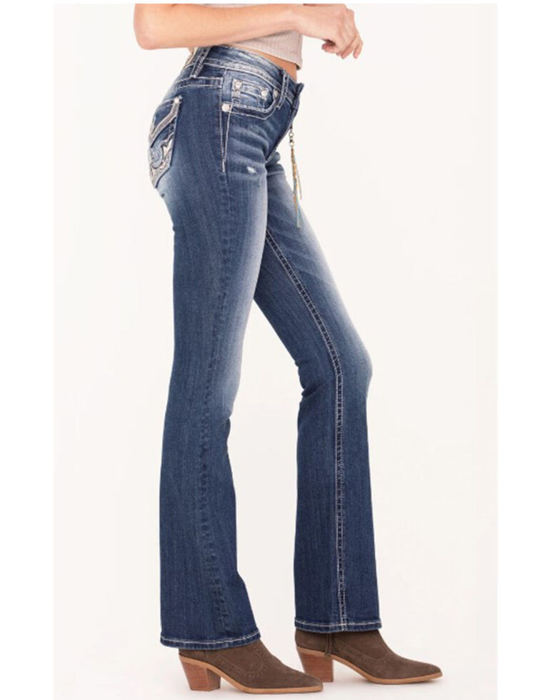 Miss Me Women's Embossed Western Abstract Bootcut Jeans, Blue, hi-res