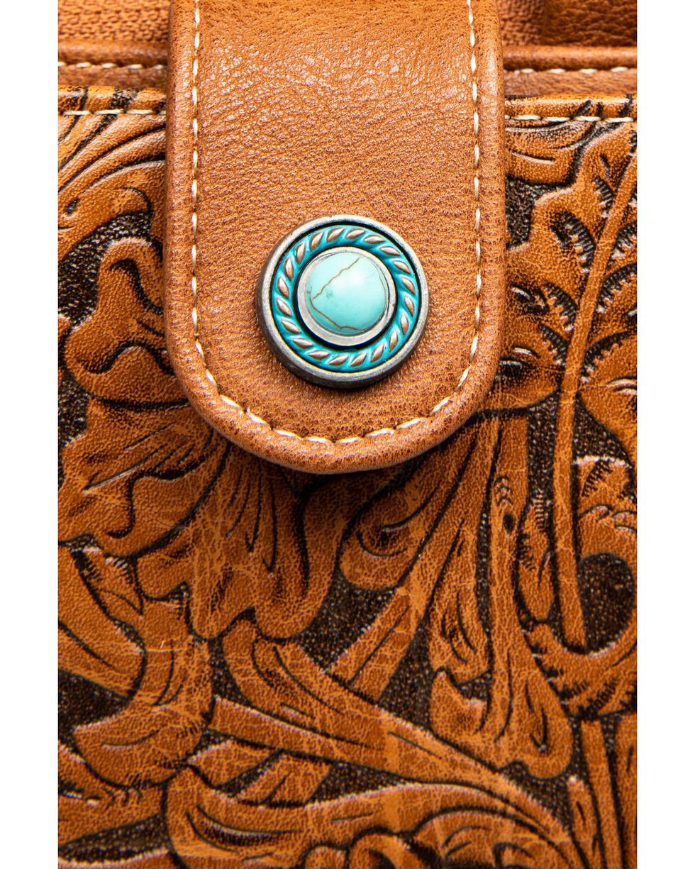Shyanne Women's Cell Phone Wallet Crossbody, Brown, hi-res