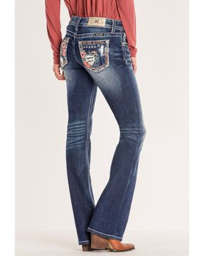 Miss Me Women's Floral Pocket Boot Cut Jeans, Blue, hi-res