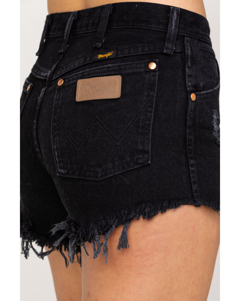 Wrangler Women's Black Modern Heritage Frayed Hem Shorts , Black, hi-res