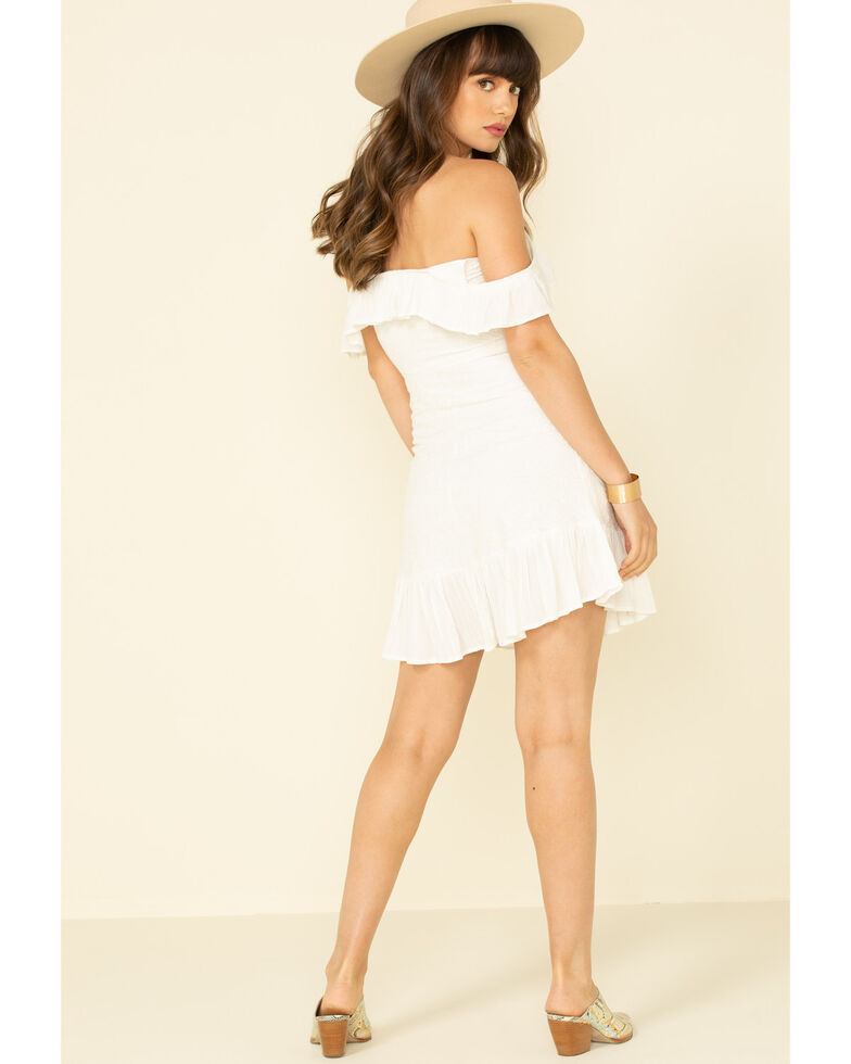 Shyanne Women's White Embroidered Ruffle Dress , White, hi-res