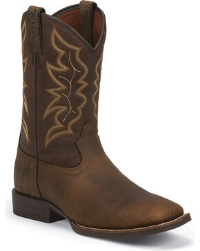 Justin Men's Stampede Square Toe Western Boots, Dark Brown, hi-res