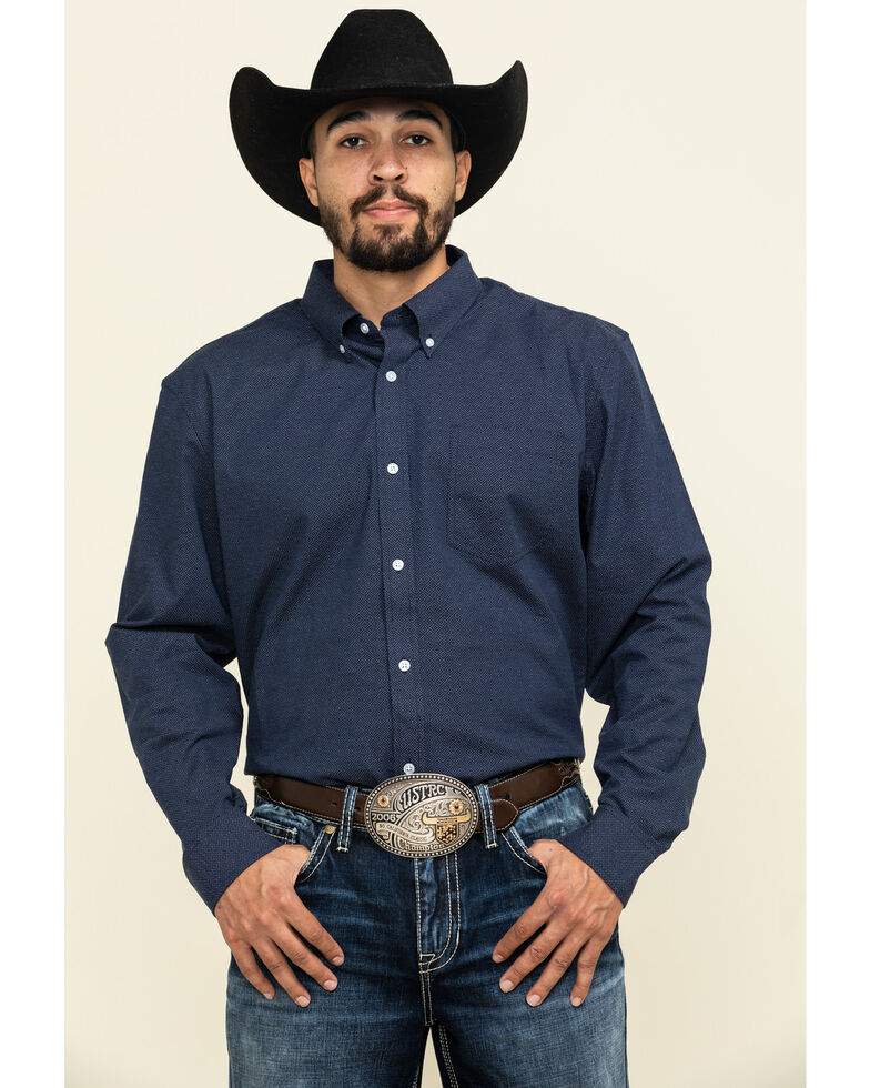 Cody James Core Men's Space Cowboy Geo Print Long Sleeve Western Shirt - Big , Navy, hi-res
