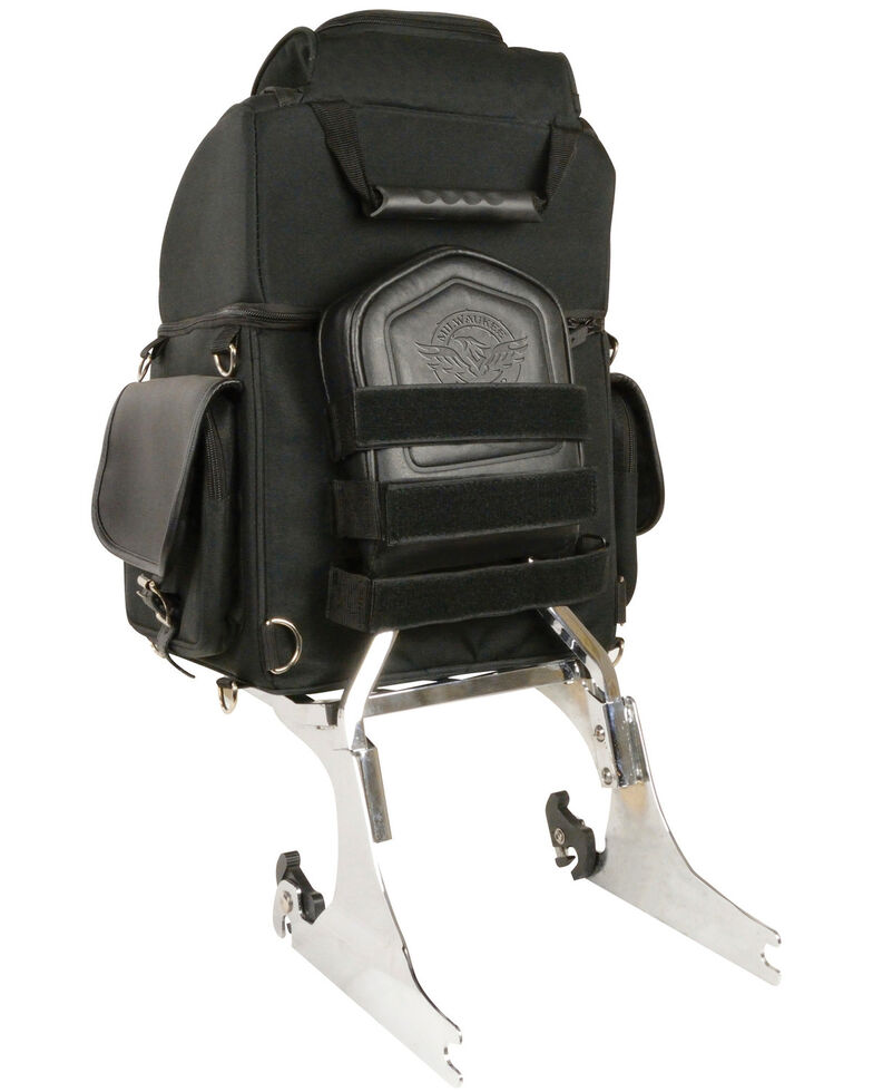 Milwaukee Leather Black Textile Back Seat Sissy Bar Bag , Black, hi-res
