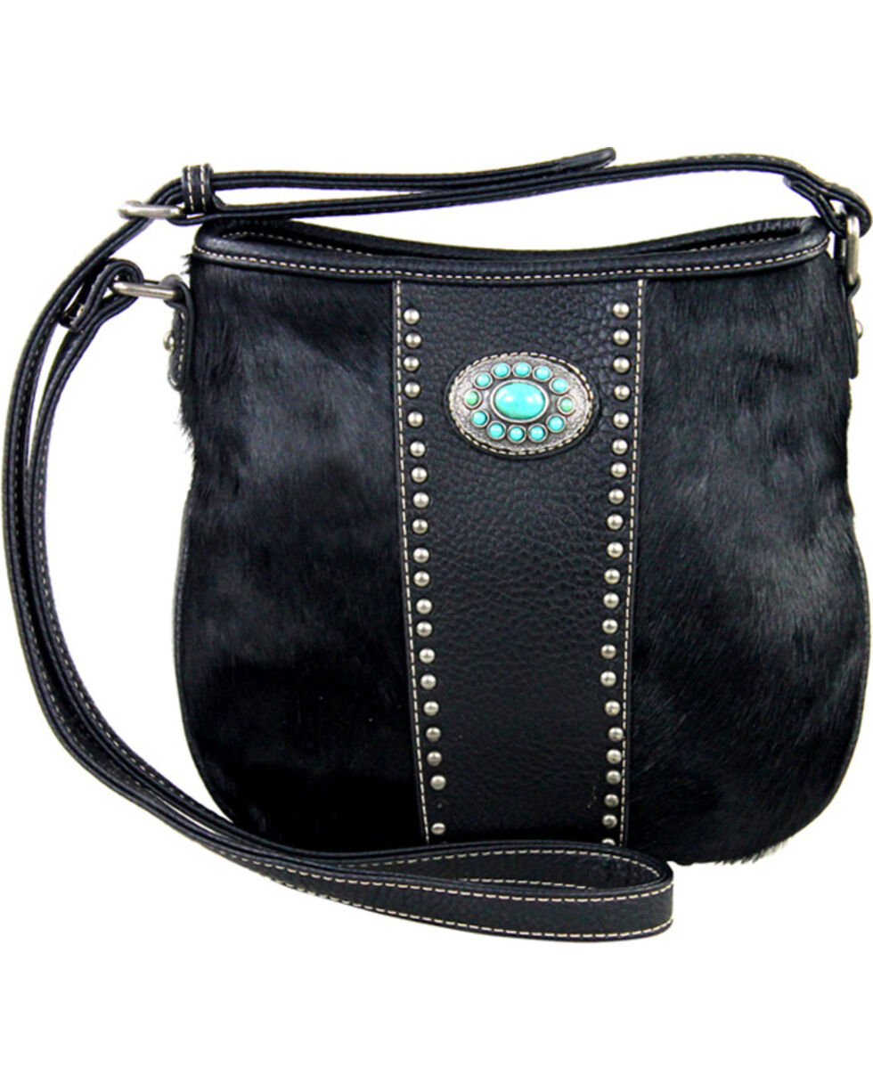 Montana West Black Trinity Ranch Cowhide Collection Handbag, Black, hi-res